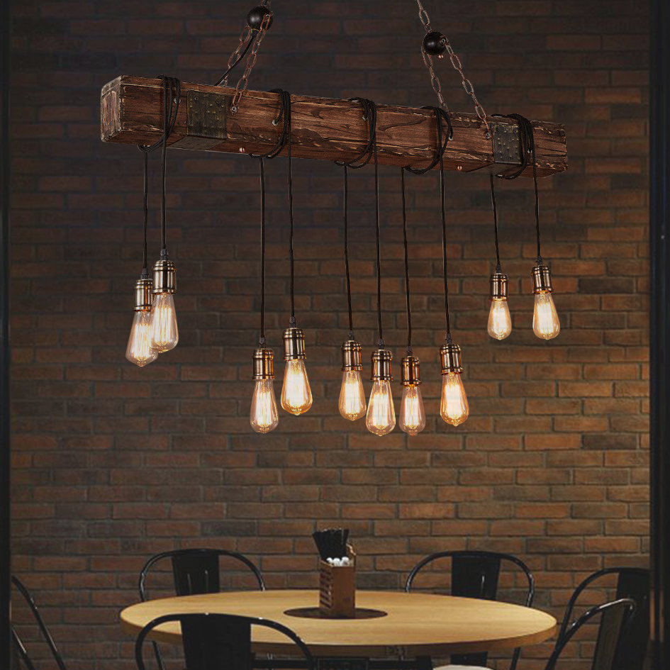 10 Lights Antique Farmhouse Wood Beam Island Hanging