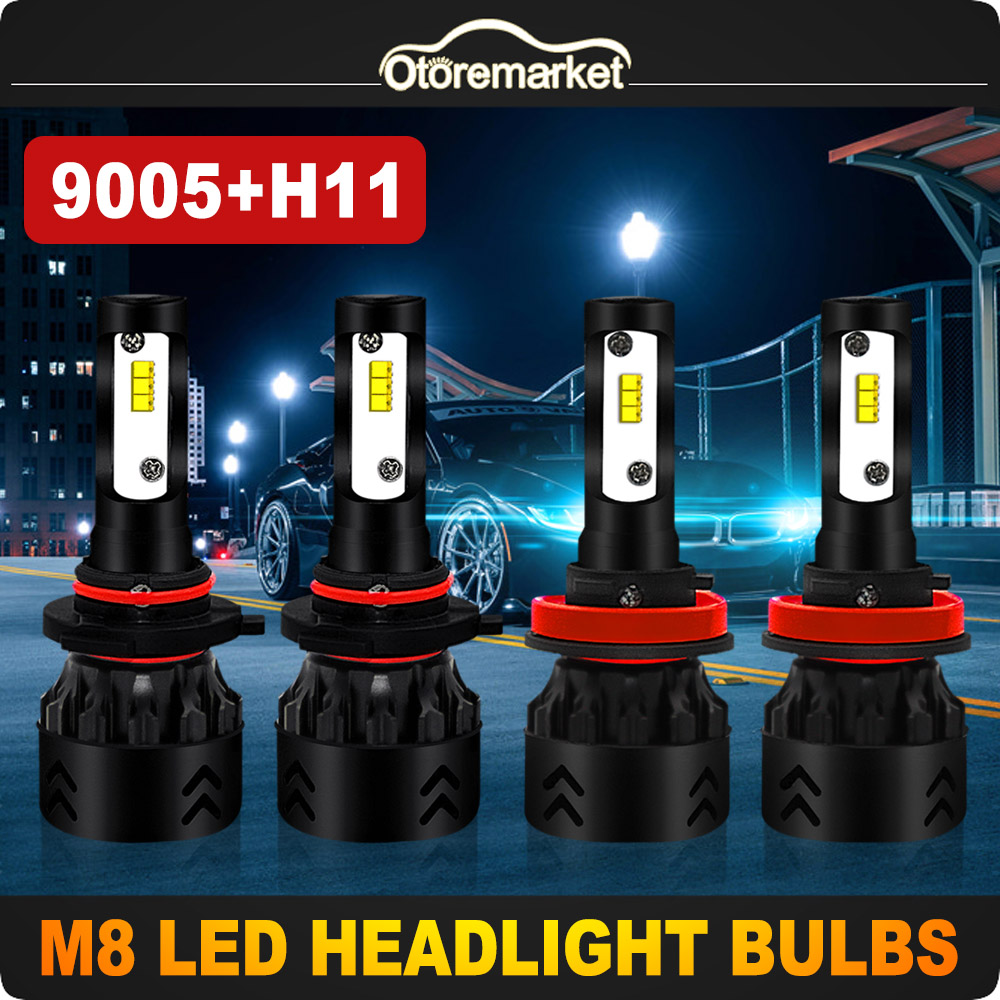 4 Pack HB3//9005 High Beam H8//H9//H11 Low Beam Combo Package LED Headlight Bulbs Conversion Kit All-in-One 6000K 4800LM Crystal White Halogen Replacement Headlamps
