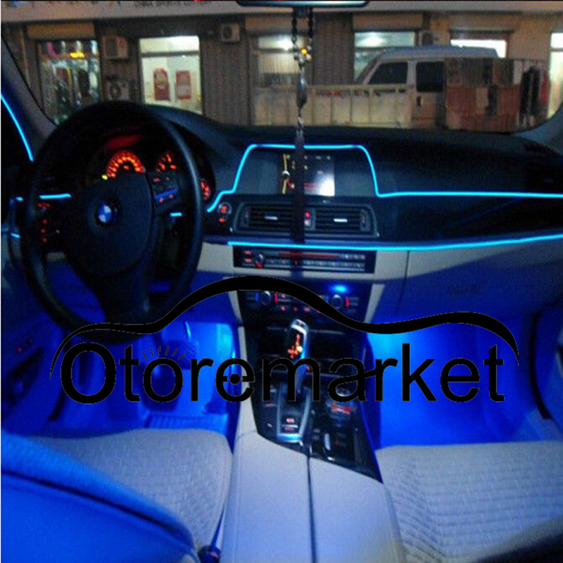 5M Blue Car EL-Wire Car Interior Decor Fluorescent Neon Strip Cold ...