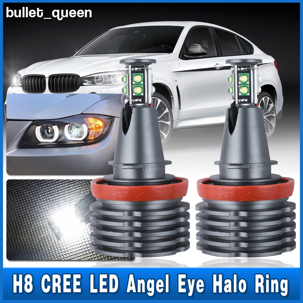 80W H8 CREE White LED Angel Eye Halo Light Bulbs For BMW E60 E70 E71 E82 E92 USA