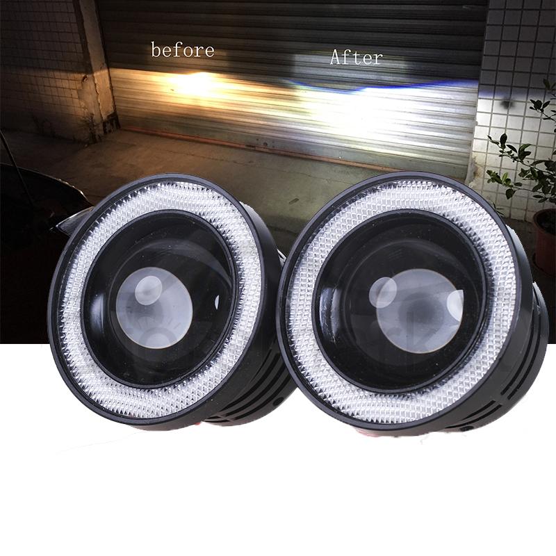 2 X 3 COB LED Fog Light Projector Car Auto Ice Blue Angel Eyes Halo Ring DRL Lamp