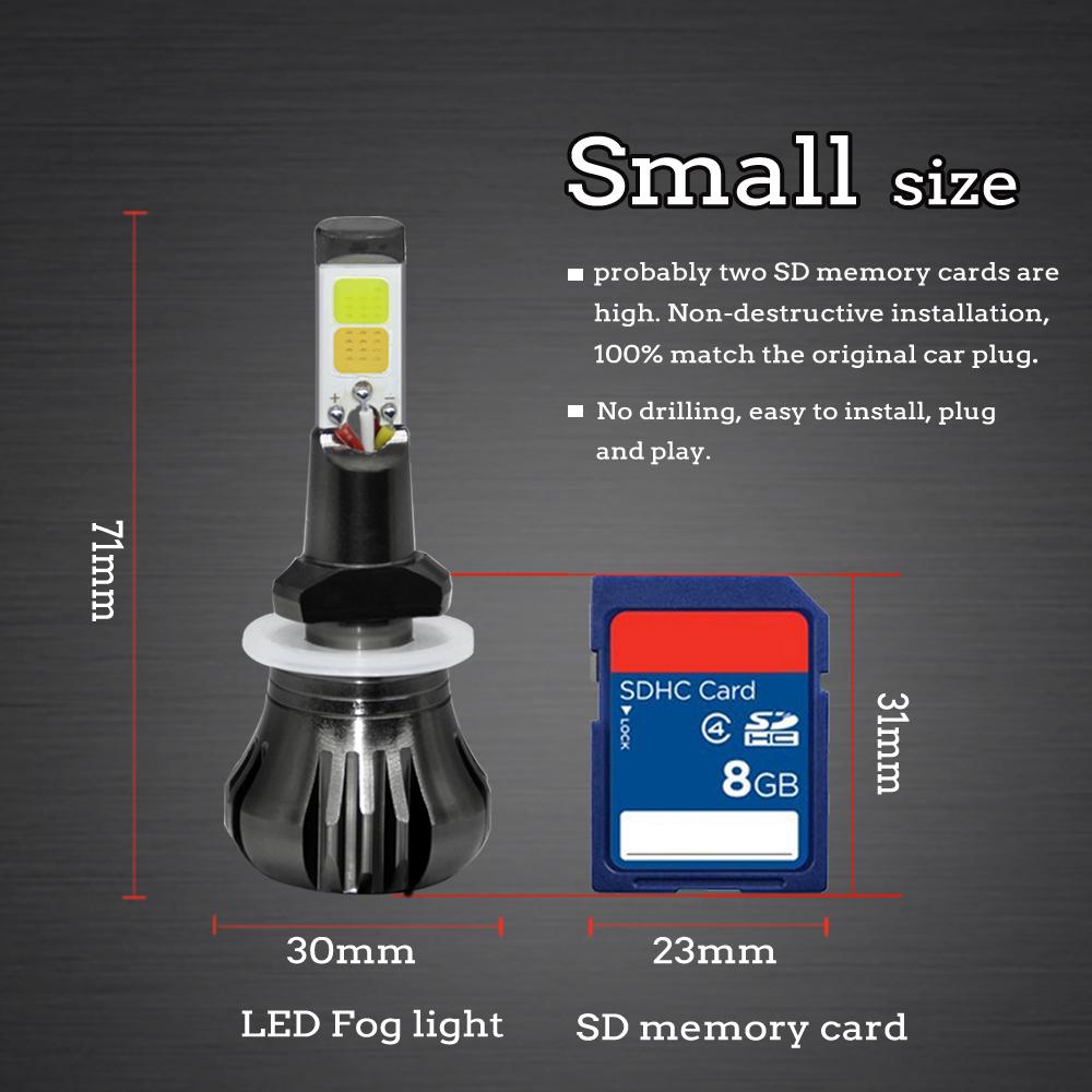 2× LED Light COB Bulb Dual Color White+Yellow Kit For Fog Light Car 880//881 899