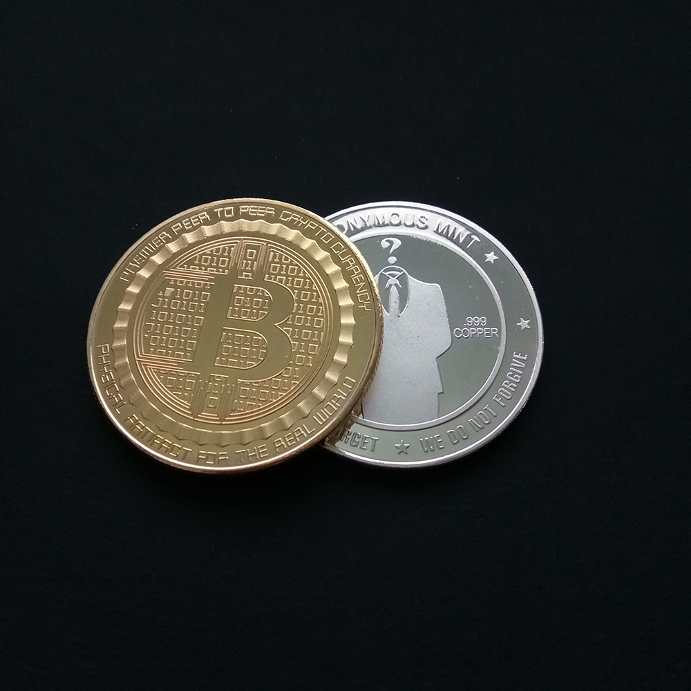 Gold Bitcoin Commemorative Round Collectors Coin Bit Coin Silver Plated Coin BB