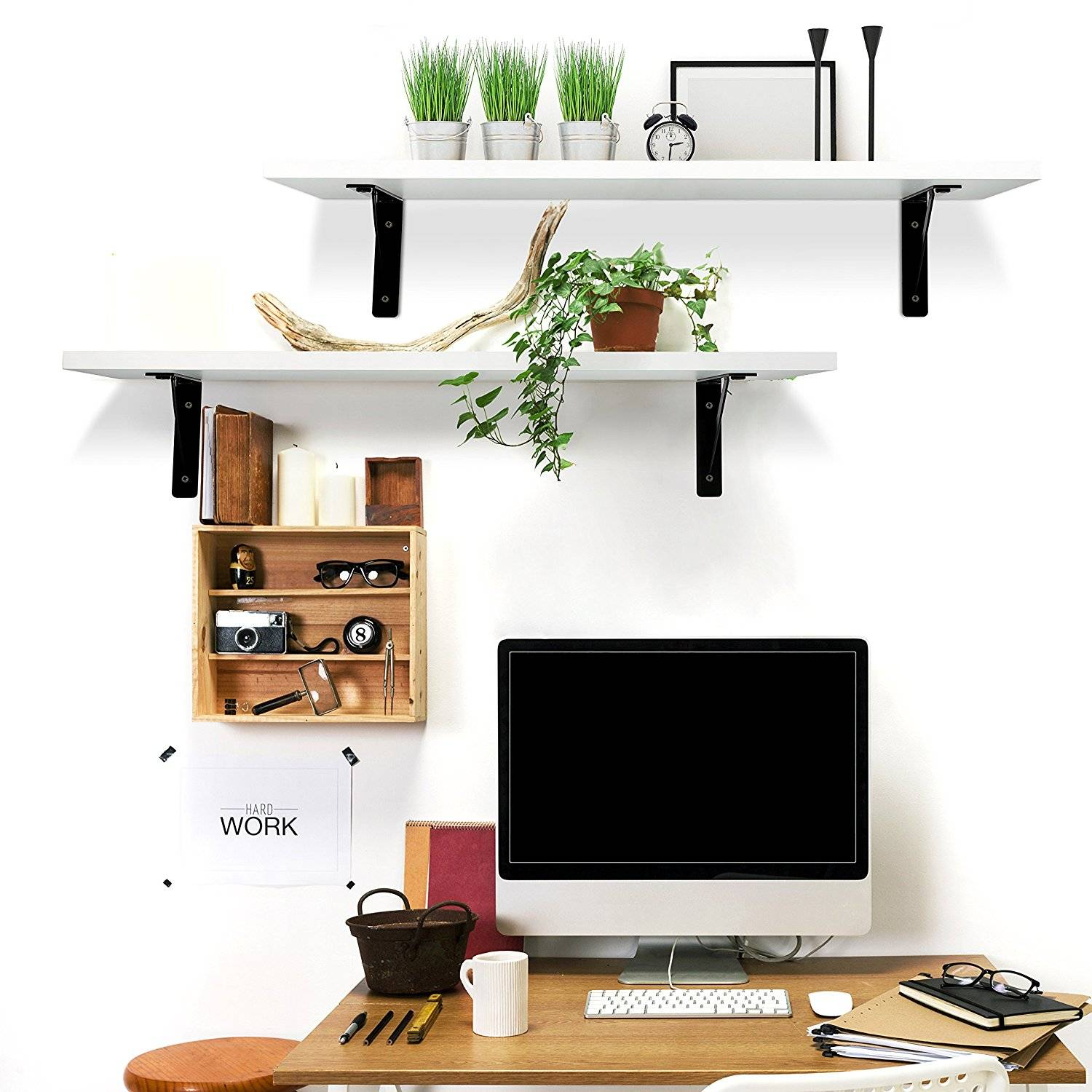 Set Of 2 Wall Mount Floating Shelves Display Storage Wood
