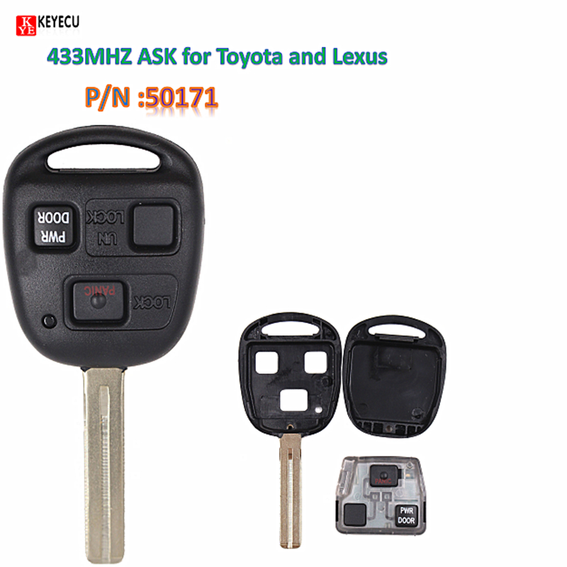 Car Remote Key >> Details About Remote Key 3 Buttons Ask 433mhz Keyless For Lexus With 4d68 Chip Fcc Id 50171