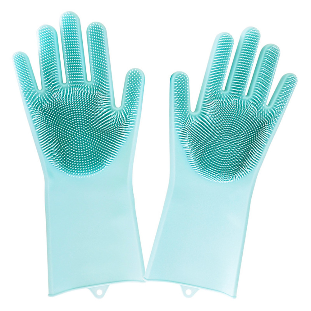 Silicone kitchen Cleaning Gloves Dusting Dish Washing Pet Car ...