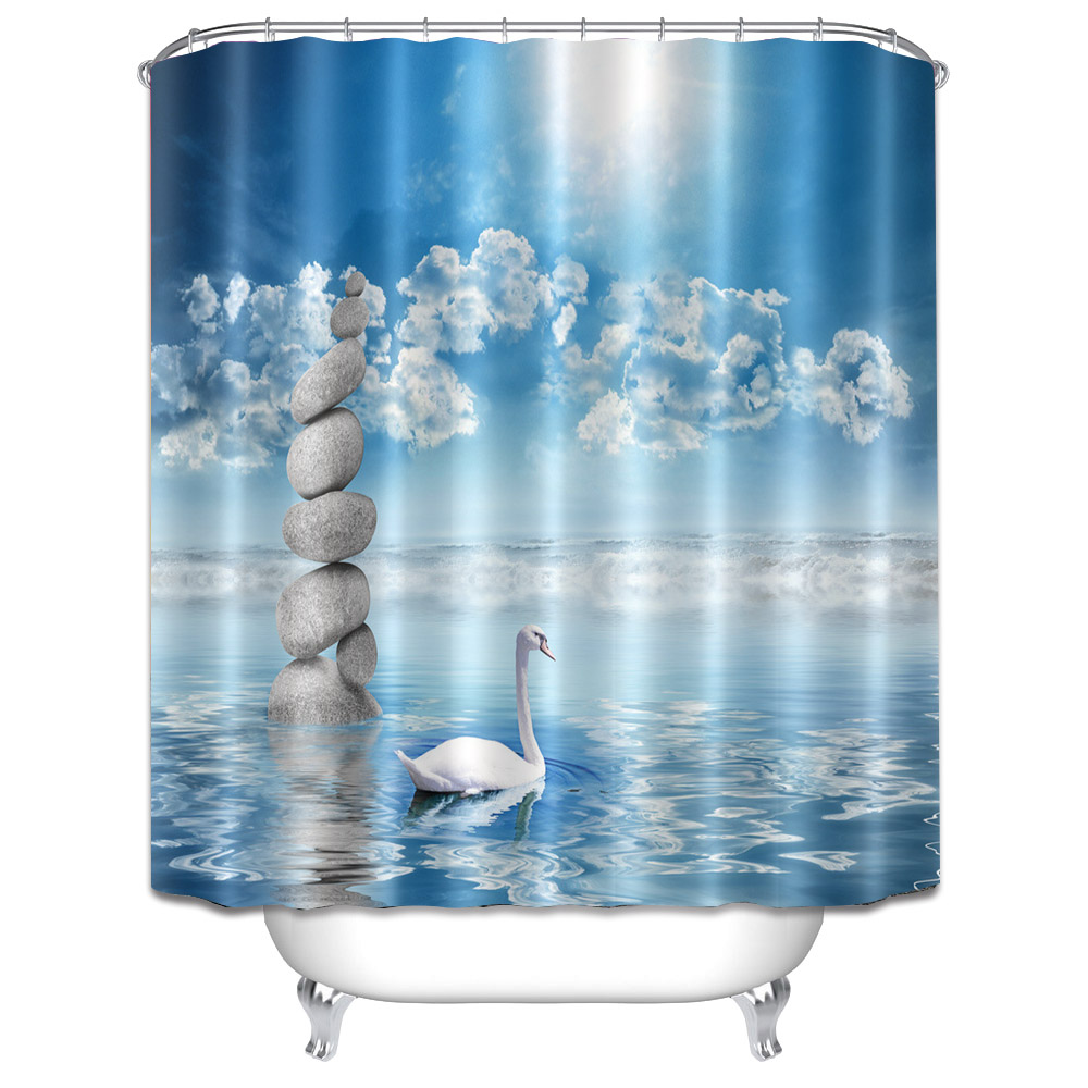 180x180cm Modern Stylish Fabric Waterproof Shower Curtain