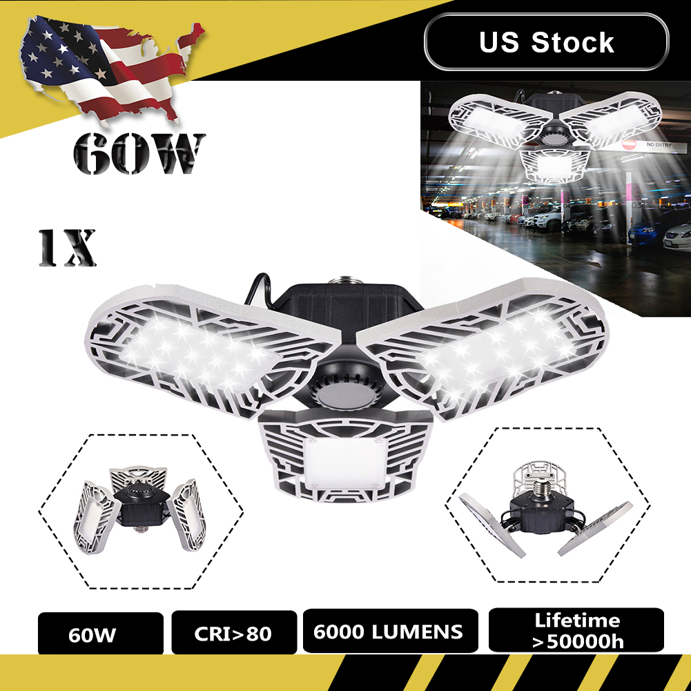 1pc 60w Silver Led Garage High Bay Light 3 Deformable