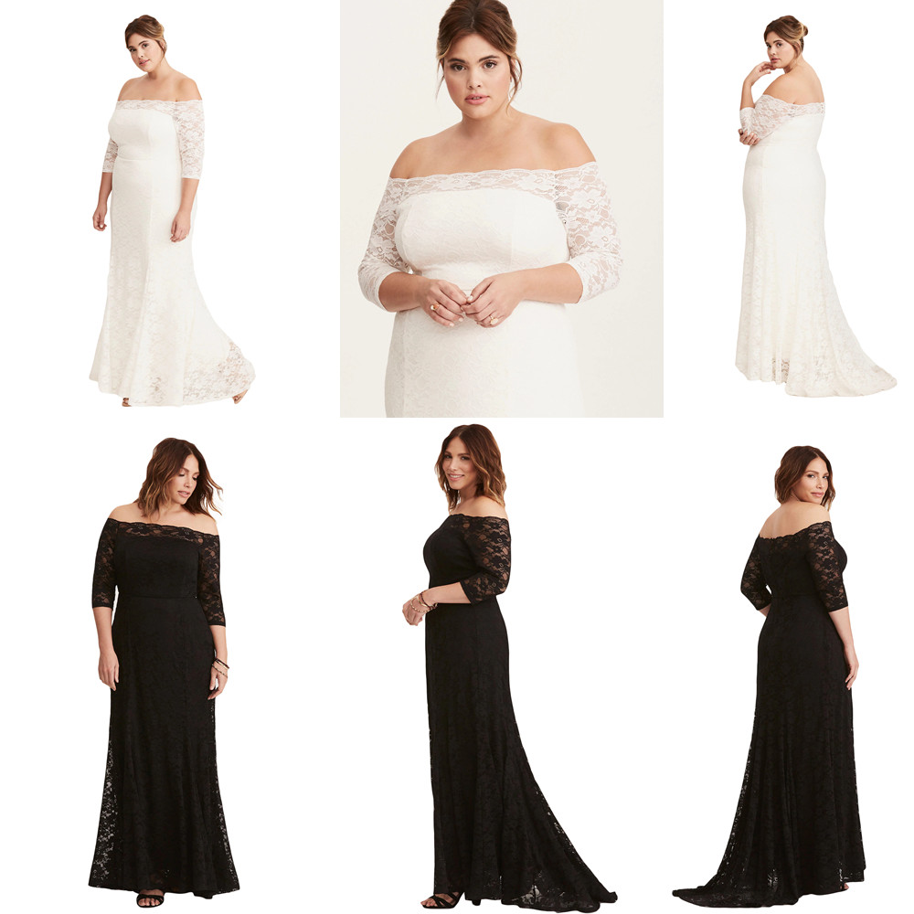 bced04fb5434 Details about White Plus Size Lace Off Shoulder Party Maxi Dress Long  Fashion Wedding Black