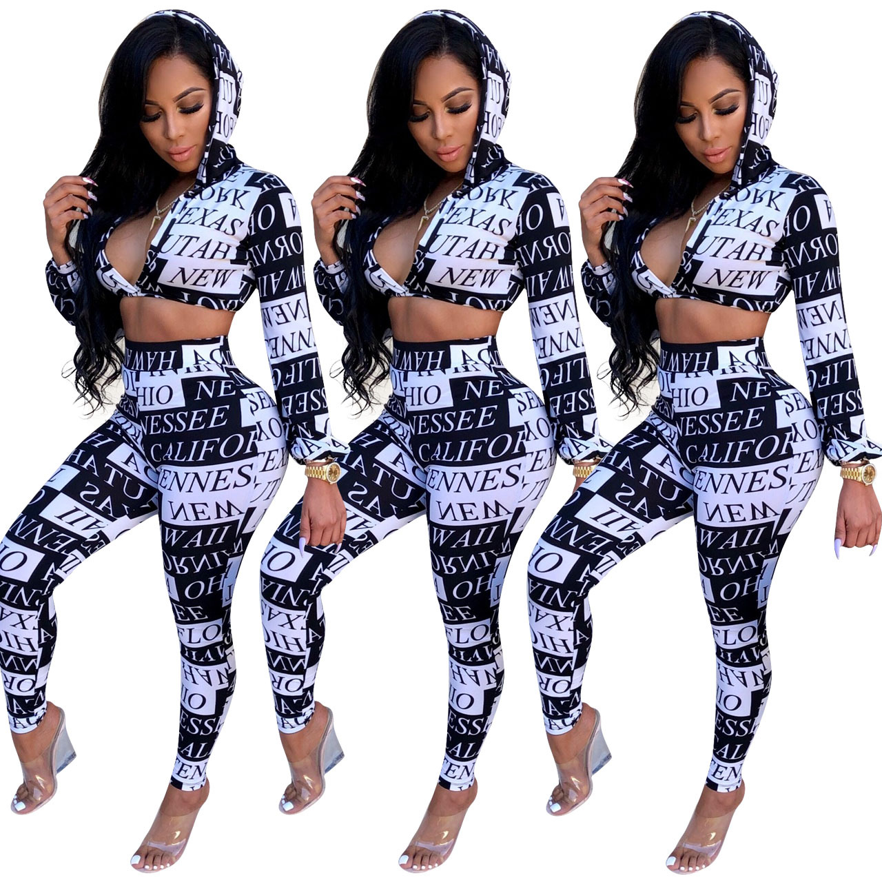 5eb4bdf99b5 Details about Women s Letter Print Party Club Set Sexy Deep V-neck Hooded  Coat+Skinny Pants