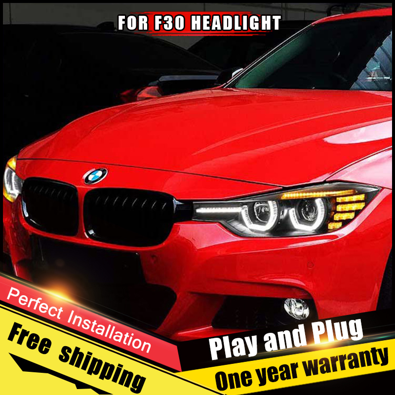 For Bmw 3 Series F30 Headlights Assembly Bi Xenon Lens