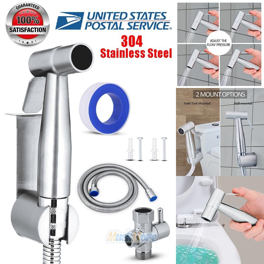 New Stainless Steel Handheld Bidet Spray Cloth Diaper Sprayer Shattaf Clean SPA