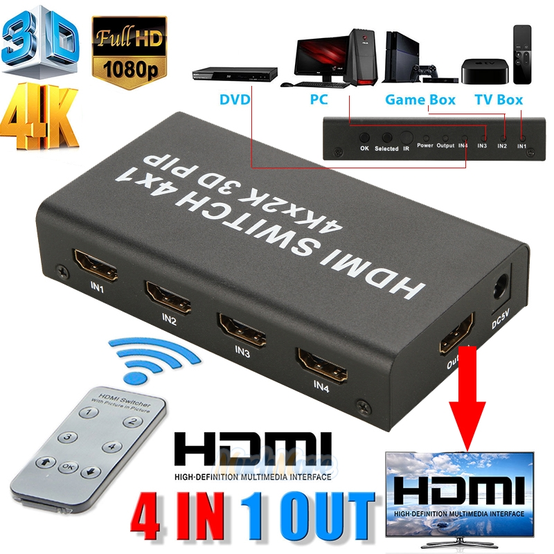 Details about 4 Port 4x1 HDMI Switch Box 4K 3D 1080P PIP Switcher IR Remote  Control Selector