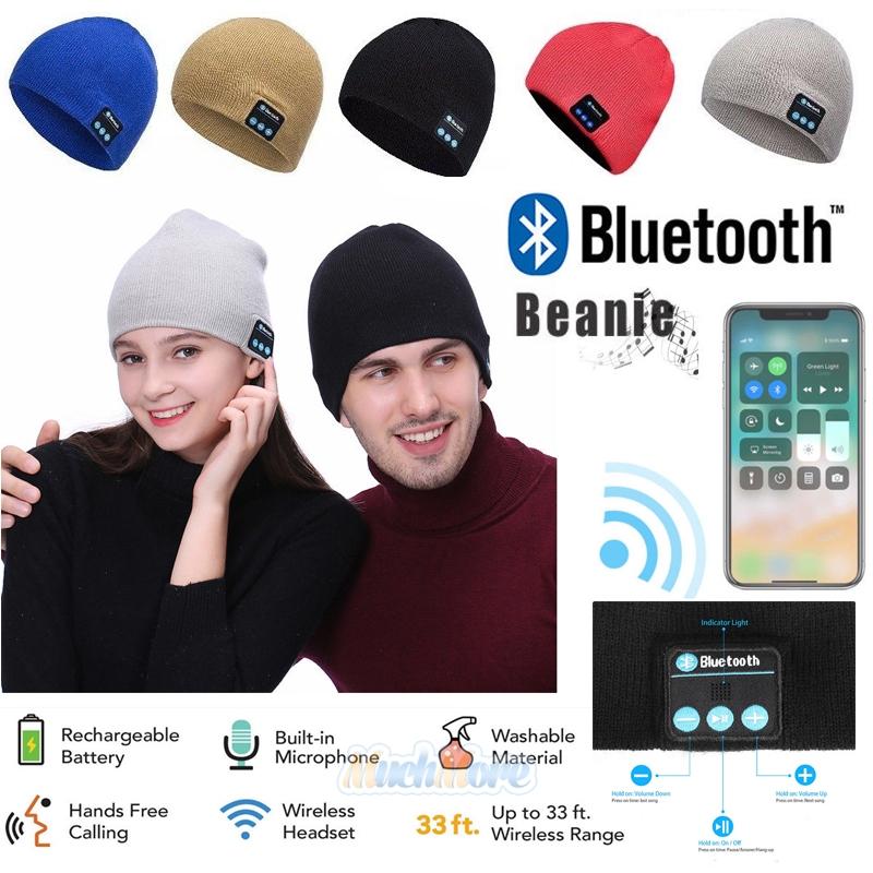 2020 Warm Beanie Hat Wireless Bluetooth Smart Cap Headset Headphone Speaker Mic