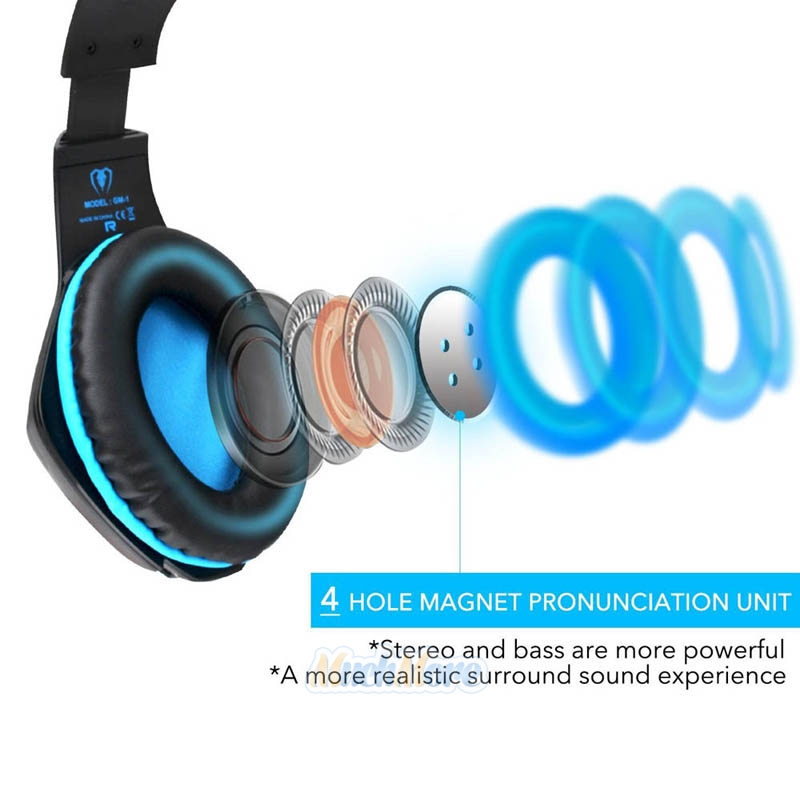 3.5mm Gaming Headset Mic LED Headphones Stereo Surround for PS3 PS4 ...