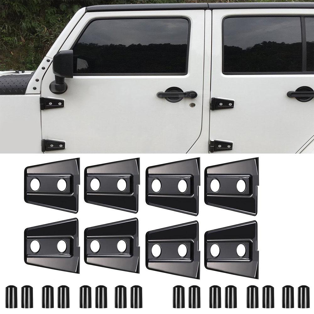8x Black Door Hinge Cover Trim Abs Fit 2007 2017 Jeep