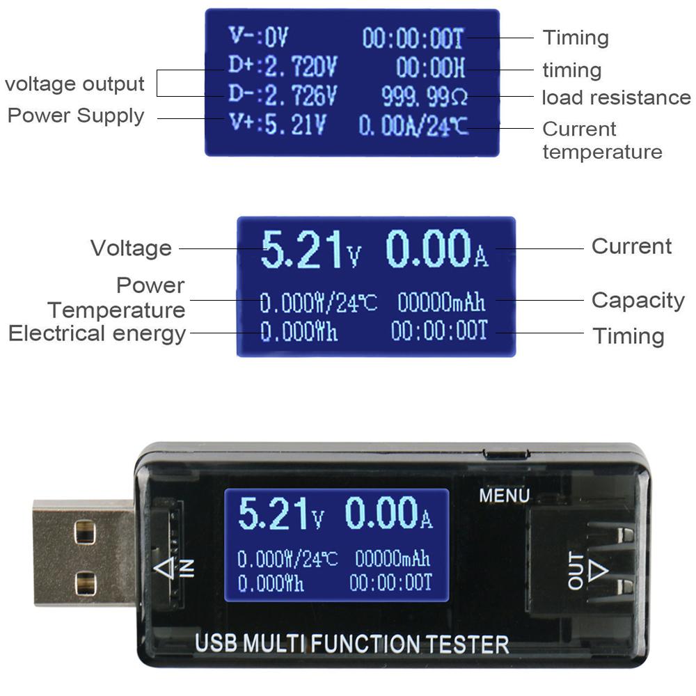 LCD USB Detector Voltmeter Ammeter Current Meter Tester for Phone Tablet