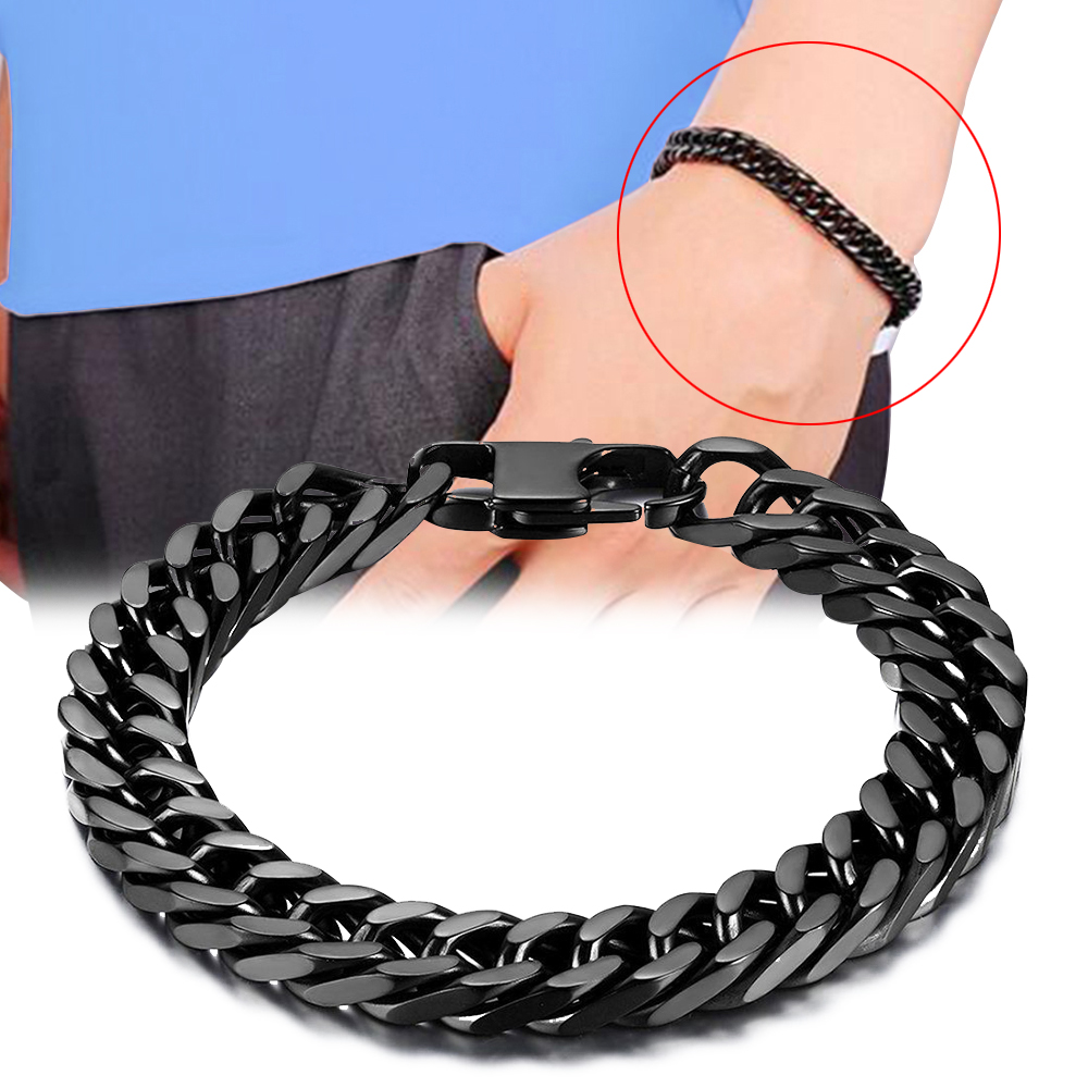 "Durable Silver Steel  Curb Link Chain Bracelet  8/"" Womens Mens"