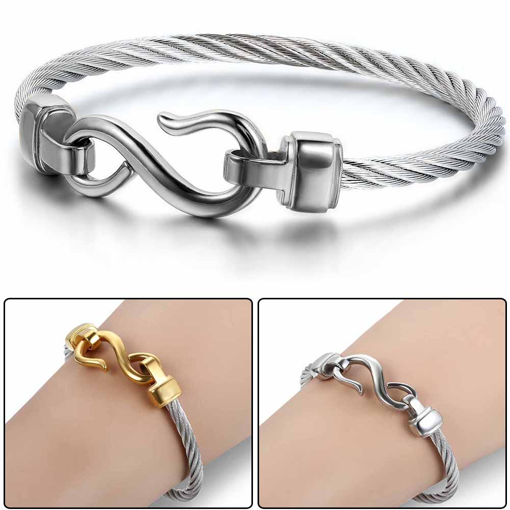 Love Infinity Symbol Charm Stainless Steel Cable Cuff Bangle