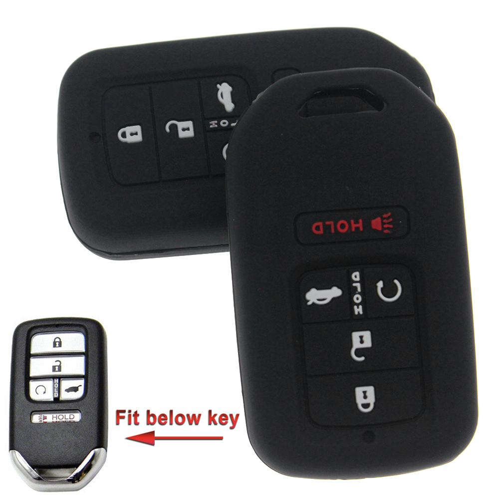 A Pair Black Rubber Key Fob Case Key Cover Protector fit for Honda Accord CR-V