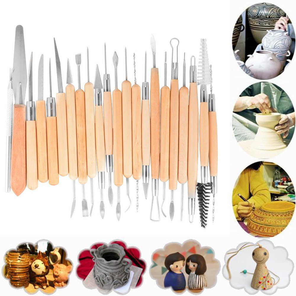 22Pcs Pottery Clay Sculpture Tools Plasticine Carving Brushing Scraping Cleaning
