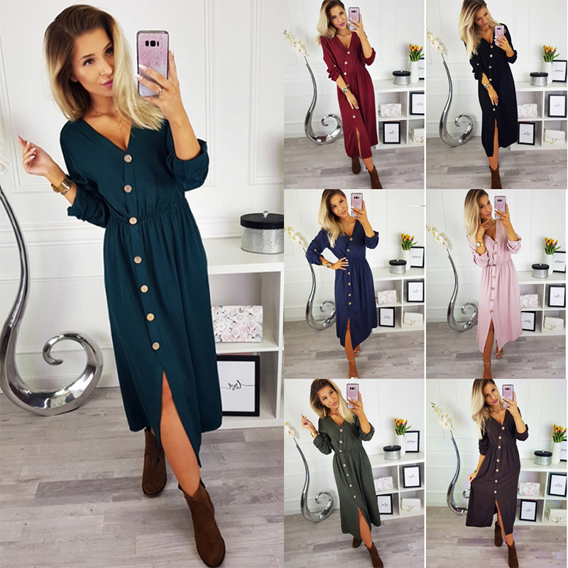 a72937c3fedd Details about UK Women V Neck Midi Dress Long Sleeve Button Up Ladies  Casual Holiday Sundress