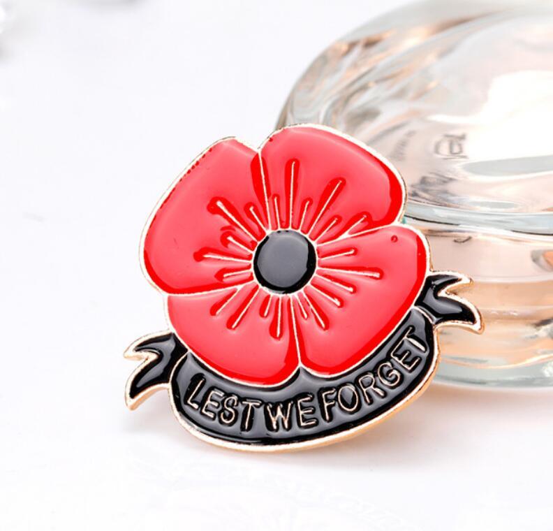 Poppy Badges Flower Ladies Enamel Lapel Pin Brooch Badge Crystal Vintage 2018