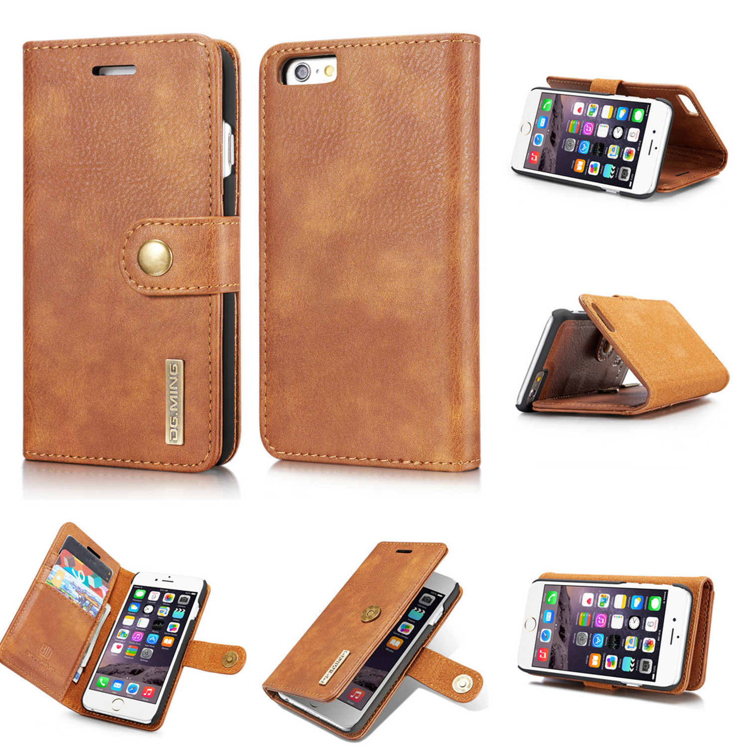 Premium Real Leather Card Holder Wallet Flip Case Phone Cover for Various Phones