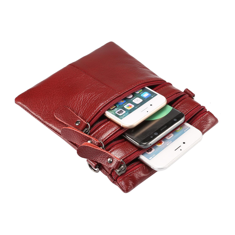 New-Genuine-Leather-Shoulder-Phone-Bag-Handbag-Zipper-Messenger-Cross-Body-Purse