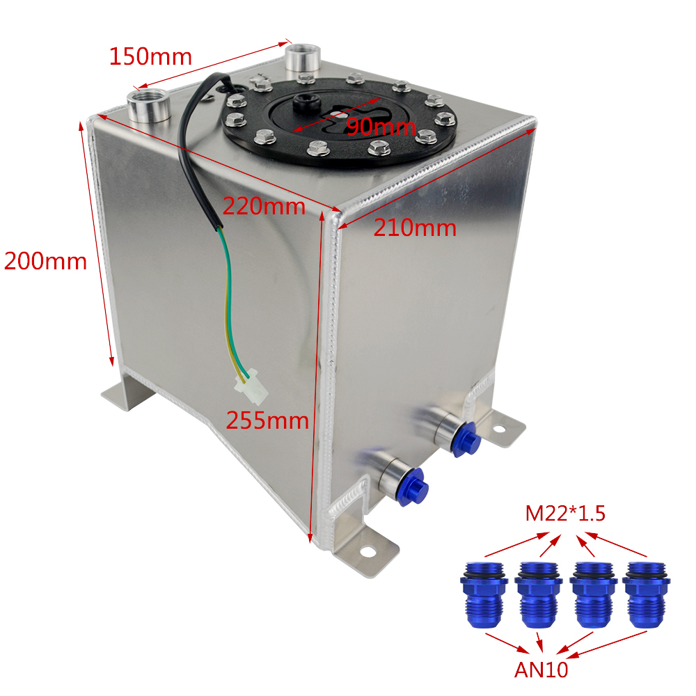 10l Polished Aluminum Fuel Surge Tank Cell With Cap Foam