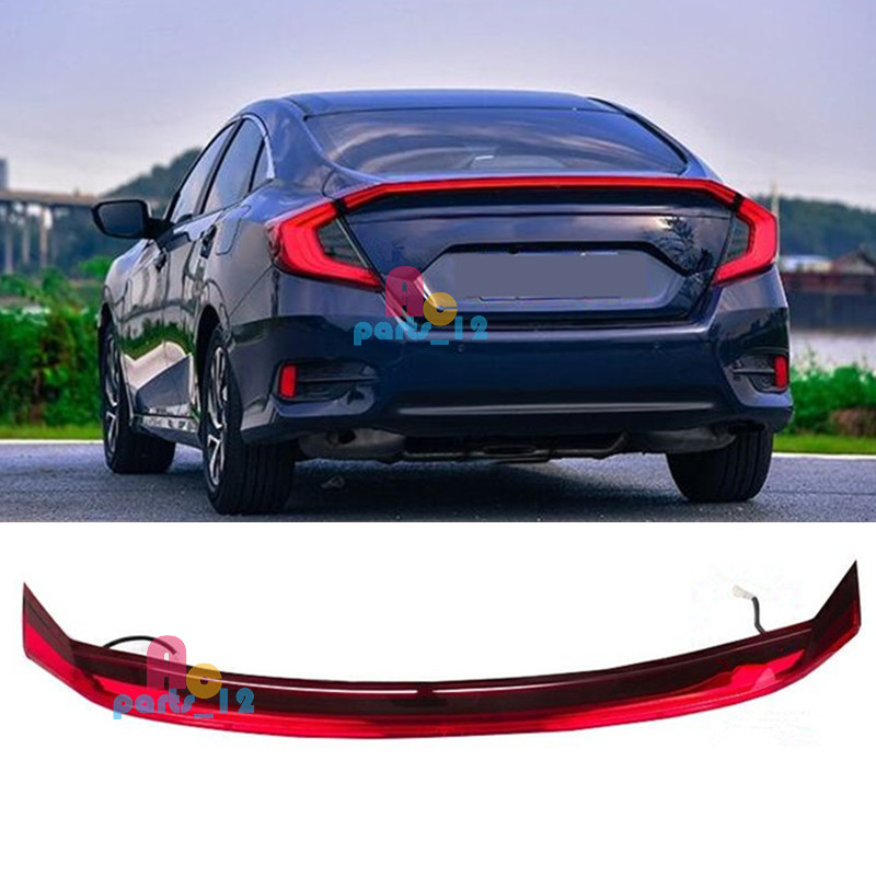 Details About For 2016 2019 Honda Civic 10th Gen Sedan 4 Door Rear Trunk Led Middle Tail Light