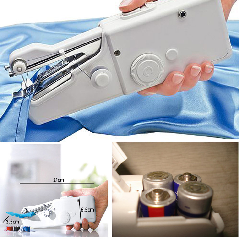 PORTABLE MINI ELECTRIC HANDHELD SEWING MACHINE BATTERY//MAINS POWERED HOME TRAVEL