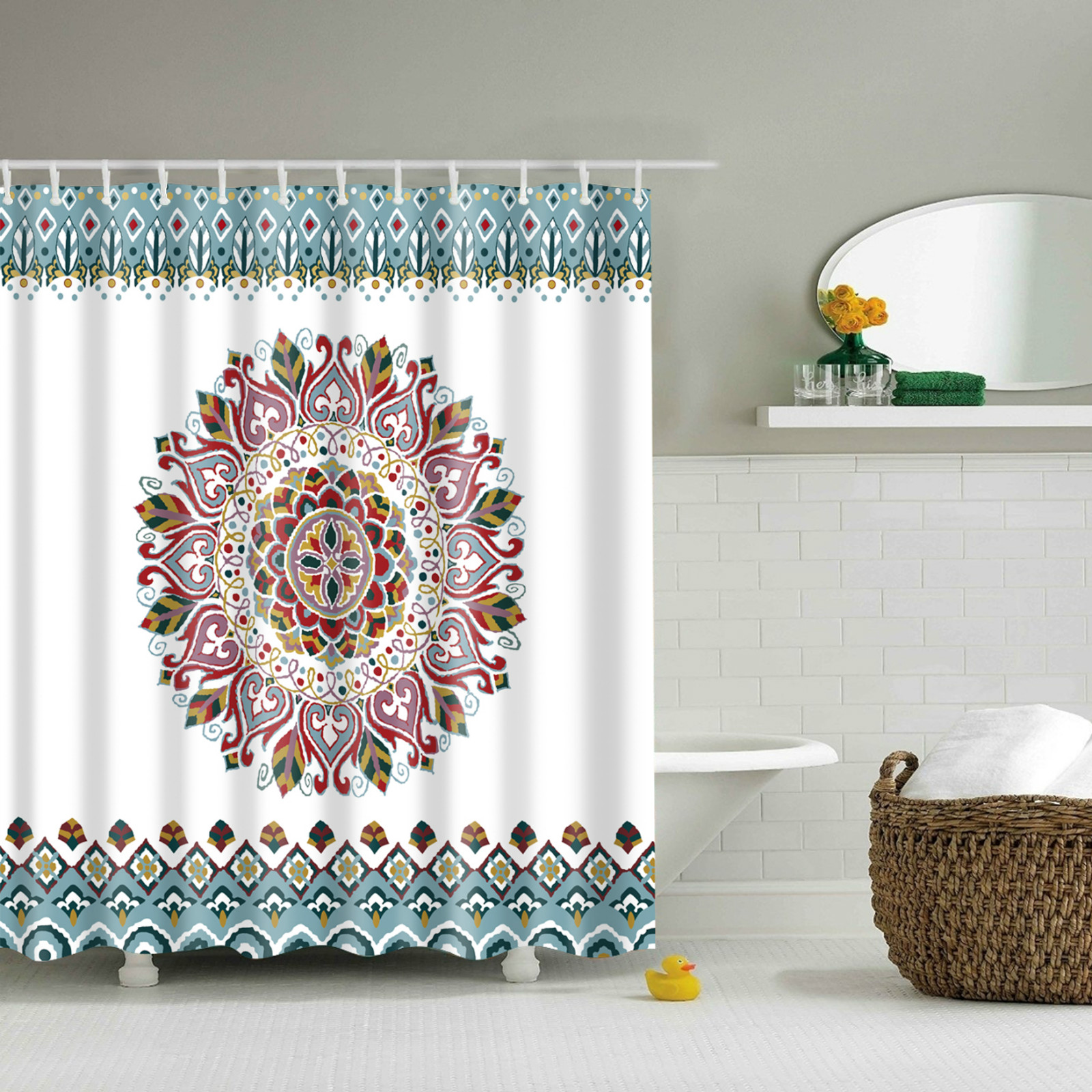 Details About India Round Buddhist Datura Flowers Waterproof Mildew  Resistant Shower Curtain