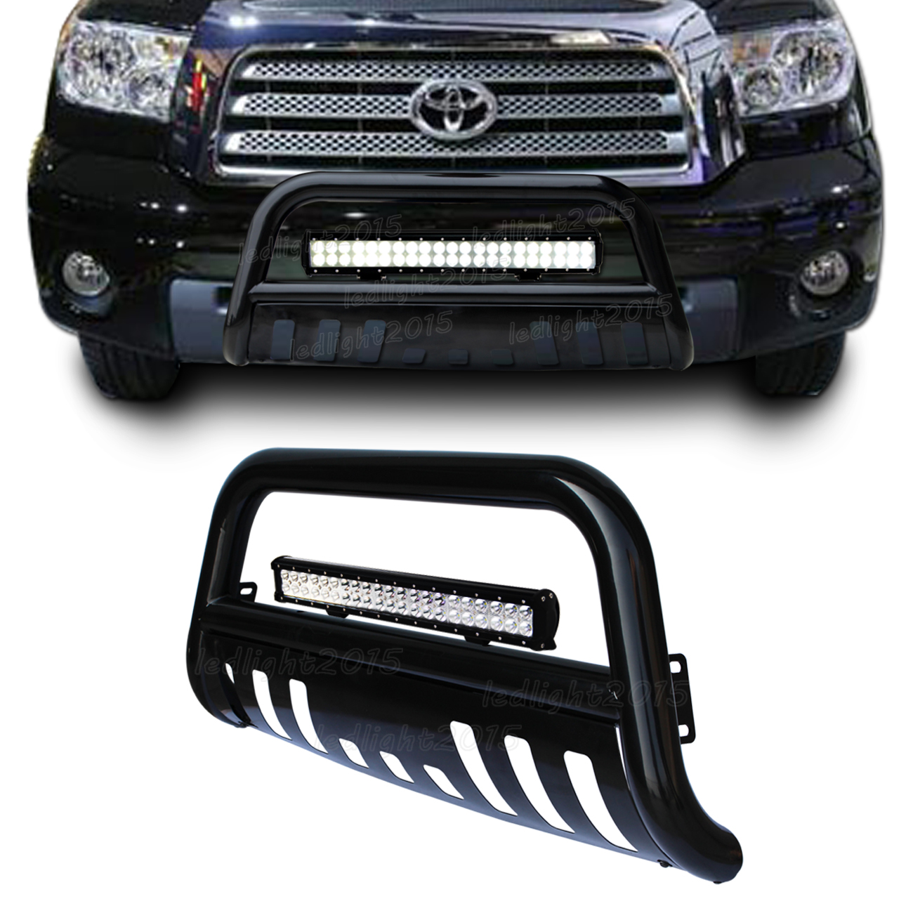Black Bull Bar Brush Bumper Grille Guard 126w Led Light