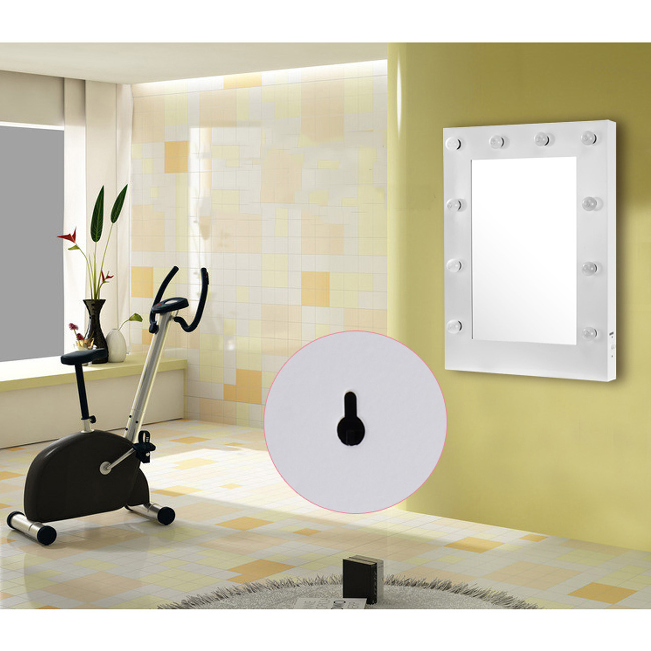 Chende White Hollywood Makeup Vanity Mirror With Light