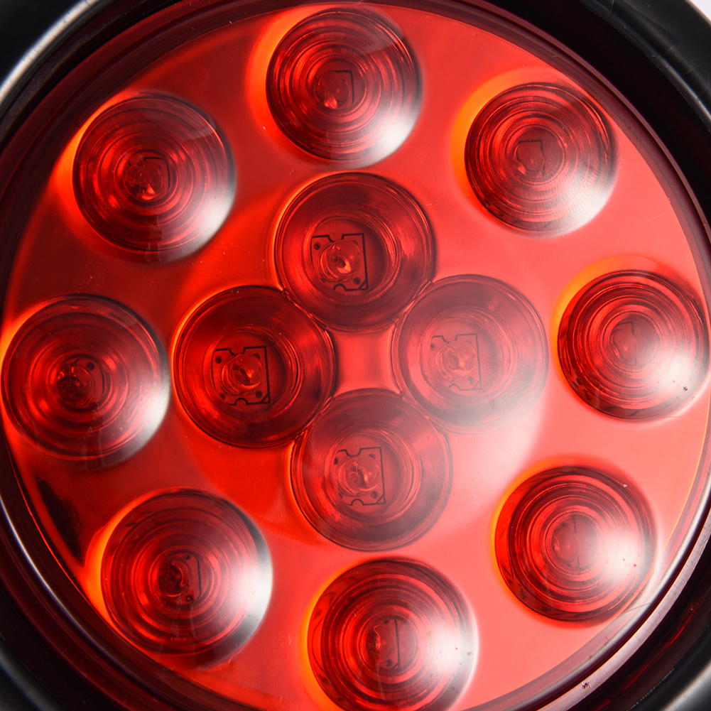 2 X Red Brake Stop Marker Lights Truck Trailer 12led 4