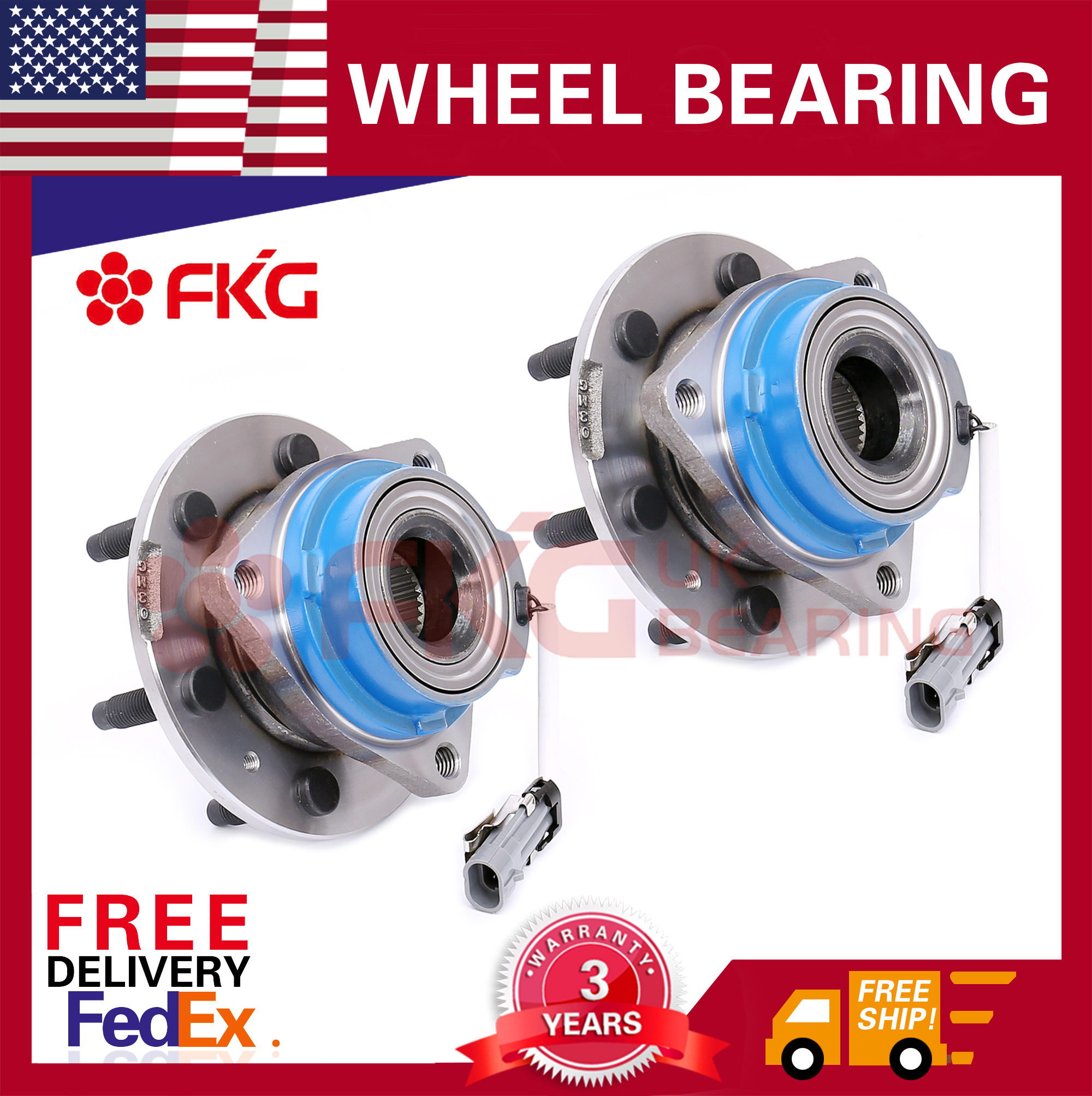Pair Rear Wheel Hub & Bearing 6 Lugs For Cadillac SRX STS