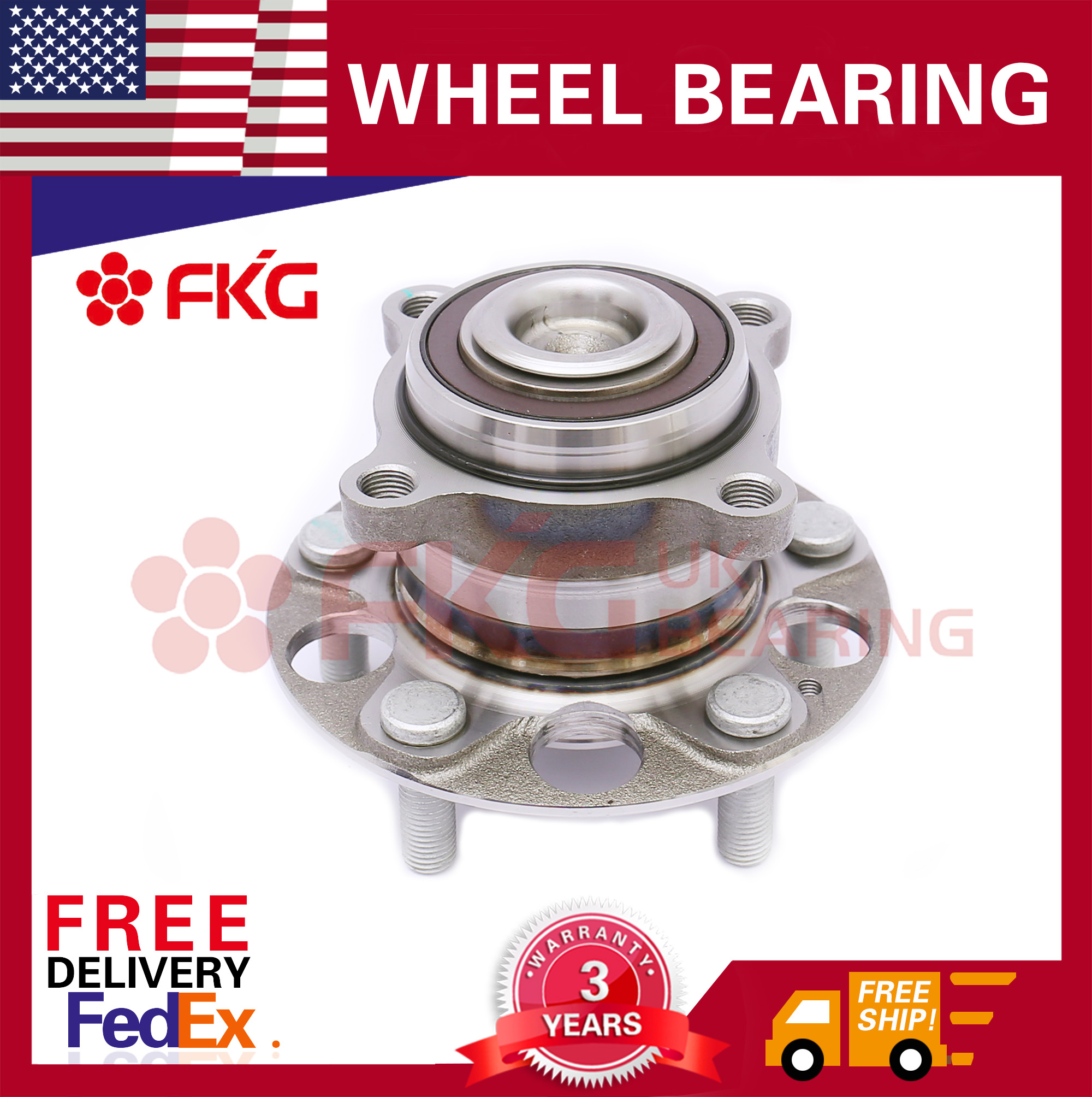 Rear Wheel Hub And Bearing Assembly Fits Honda Accord