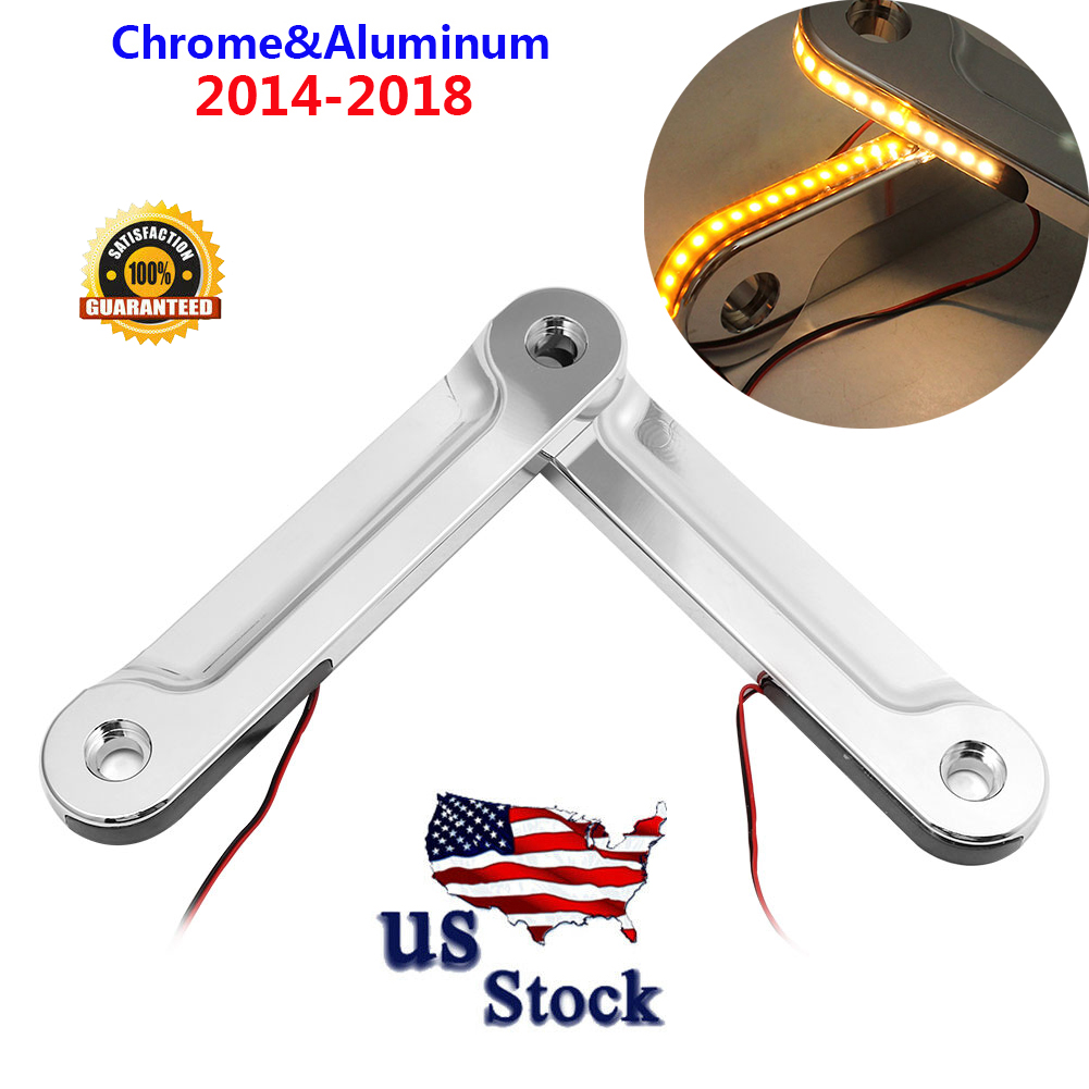 US Front LED Flush Fork Turn Signal Brackets For Harley Touring FLH//T FLHX 14-18