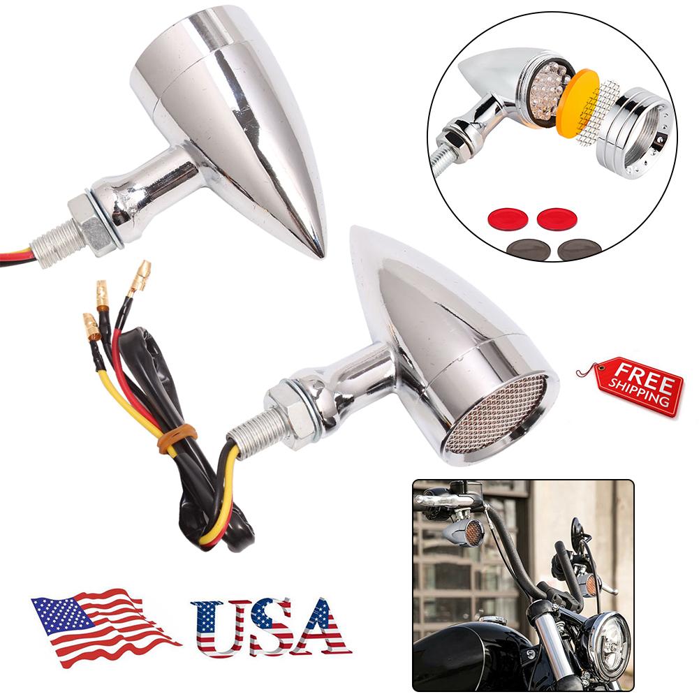 2x Chrome Grill Motorcycle LED Turn Signal indicator Light Harley Chopper custom
