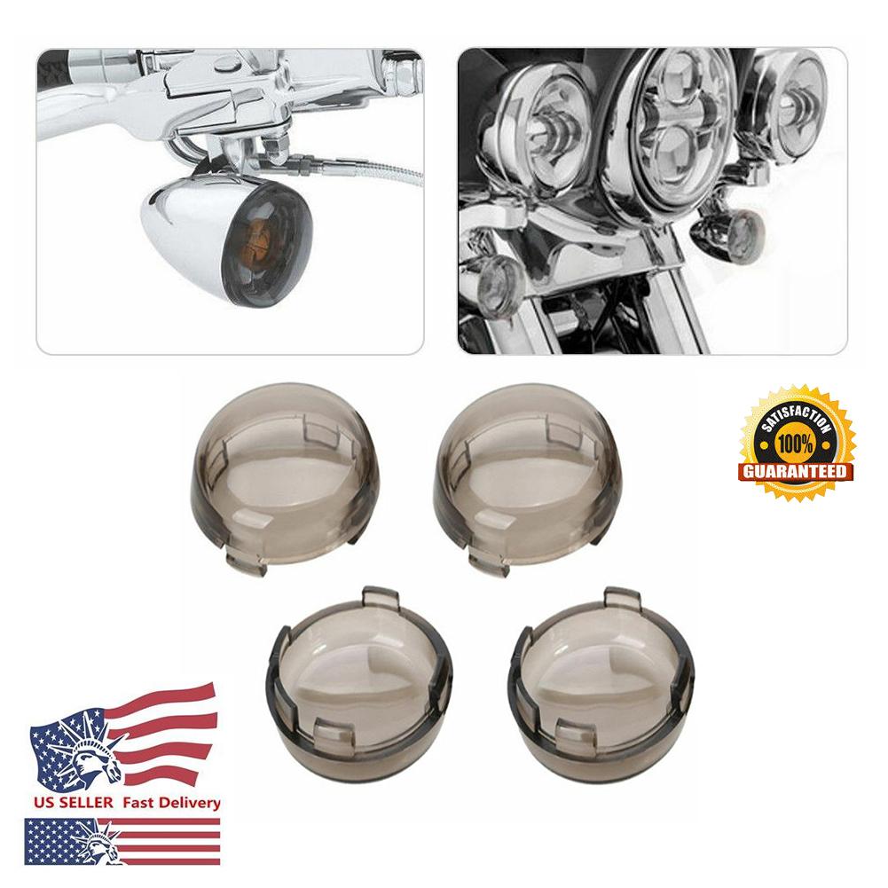 4x Smoke Lens Turn Signal Light Cover Lens for Harley Davidson Dyna Sportster