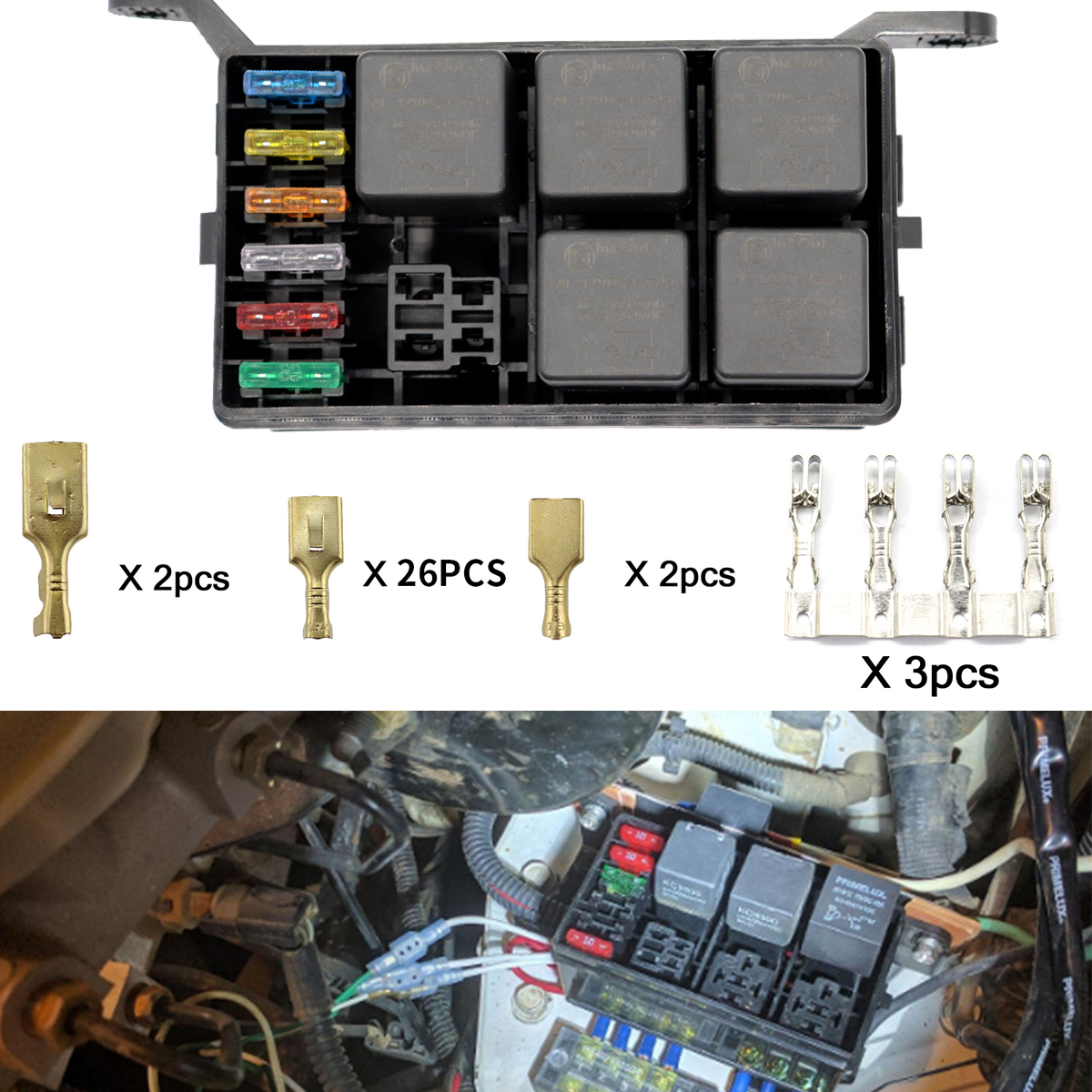 details about 6 way blade fuse holder box holder socket with terminals 40a relay for car truck Custom Automotive Relay Box