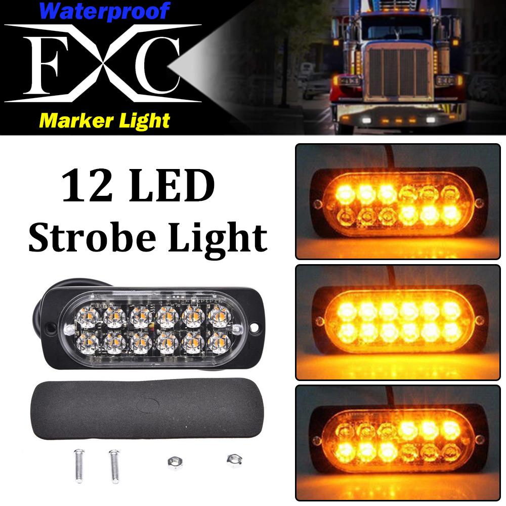 Car Truck 36W Yellow 12LED External Warning Lamp Strobe Lights DC 12V-24V