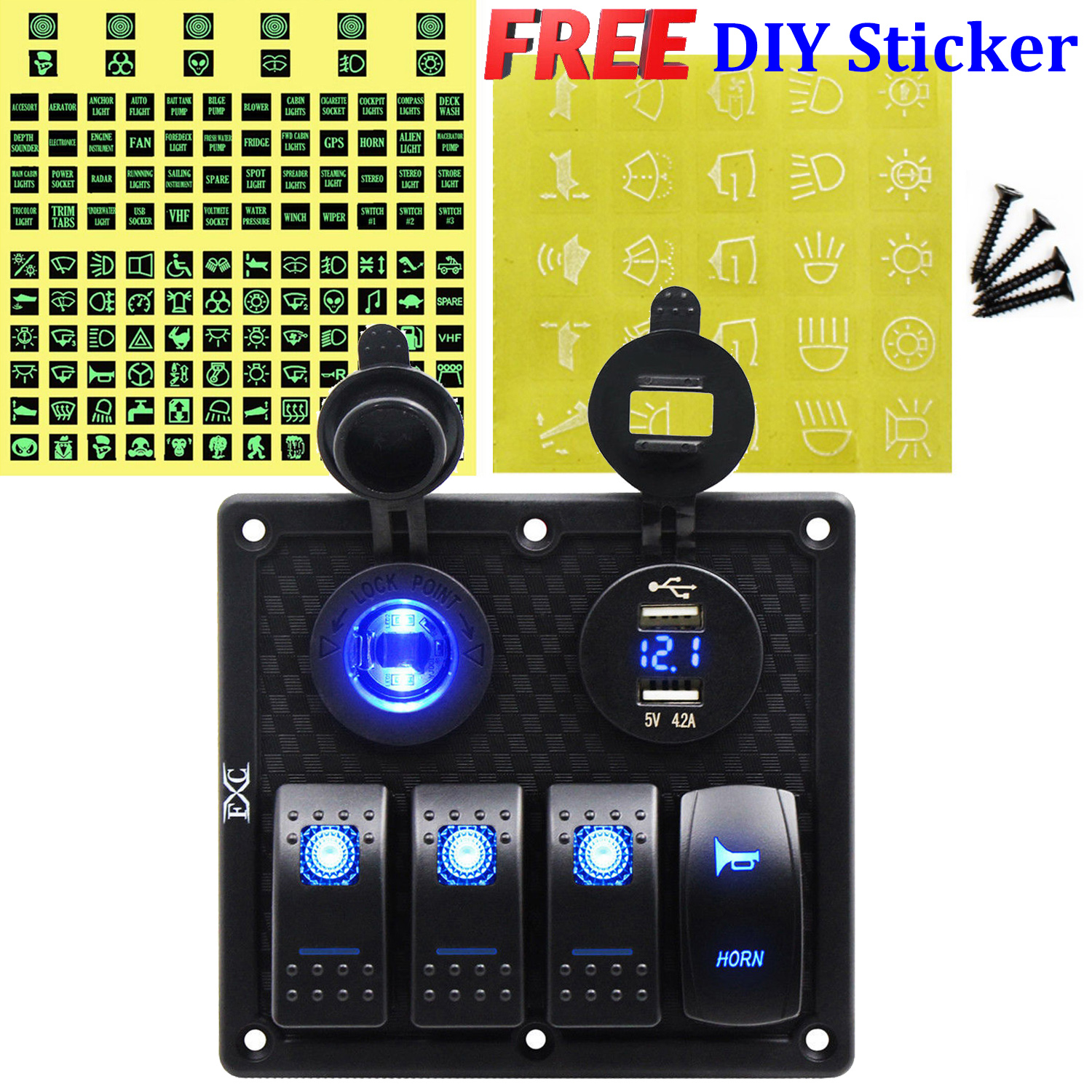 Marine Rated Light Pump Power Rocker Switch 12v 24v illuminated Led WaterProof