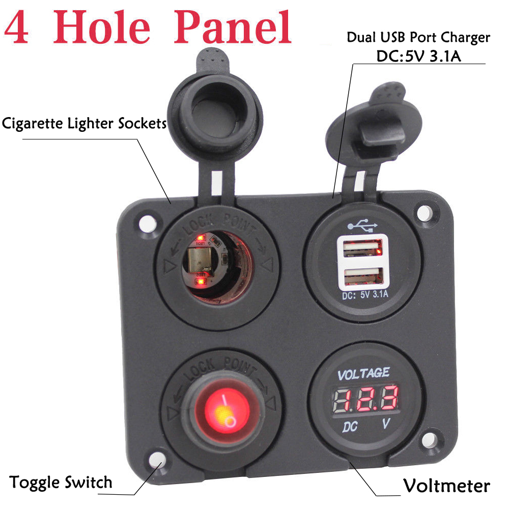 Car Motor Dual USB Socket  Charger 3.1A LED Voltmeter 12V Power Outlet Panel BLK