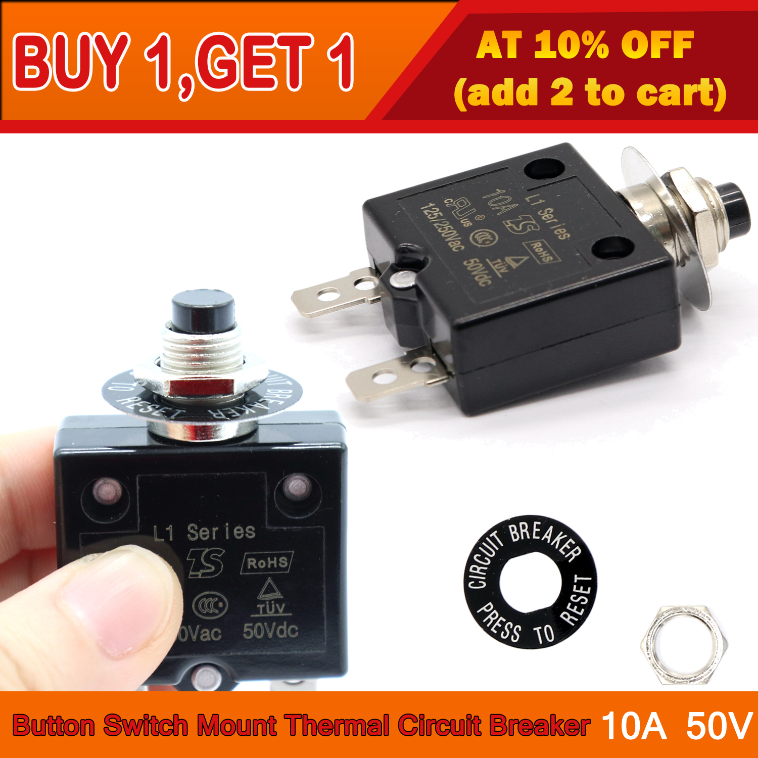 125 250v Electrical Circuit Breakers Button Switch Connect Terminal Manual Reset