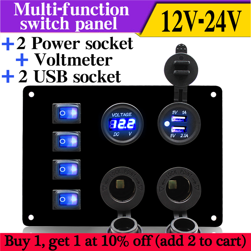 car toggle switch panel 12V power Socket and car Double USB