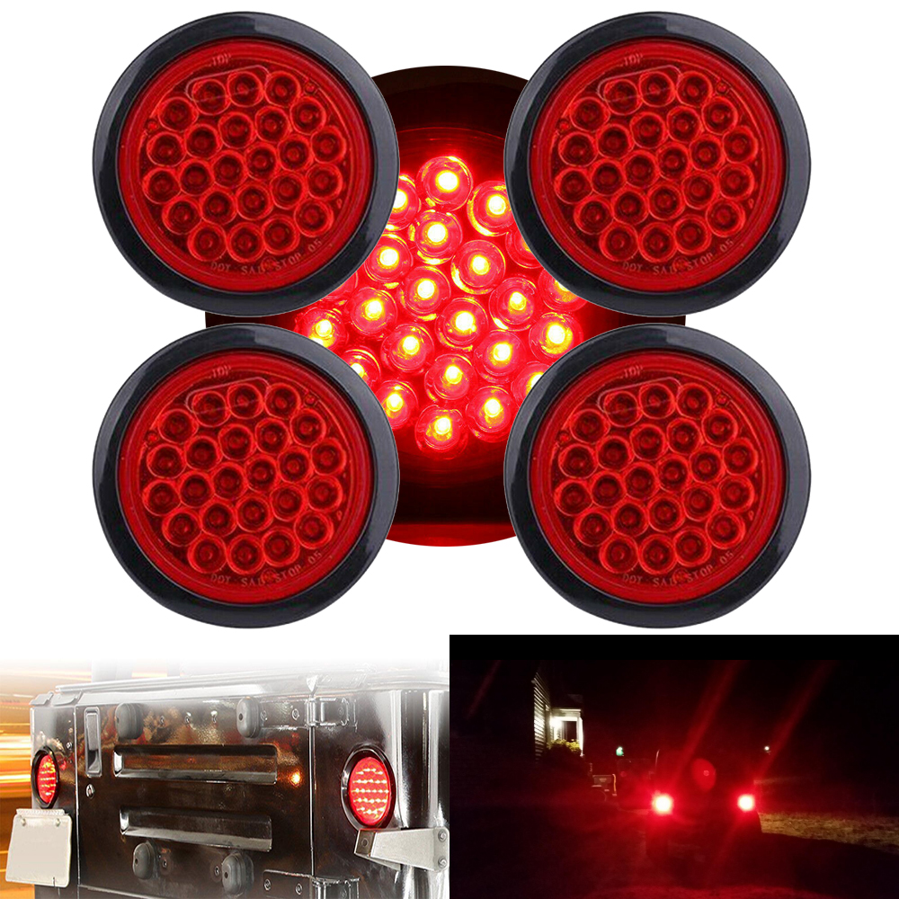 4x 4 U0026quot  Inch Red 24 Led Round Rear Stop Brake Tail Light 12v