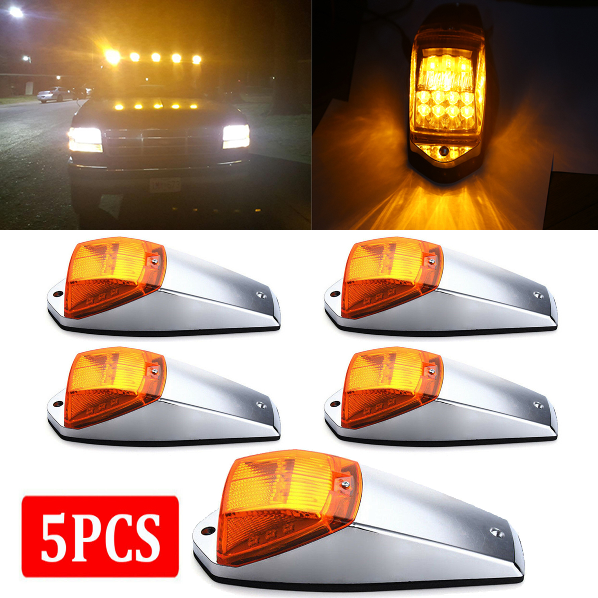 Clear//Amber 17 LED Replacement Lens for Peterbilt Torpedo Cab Roof Running Light