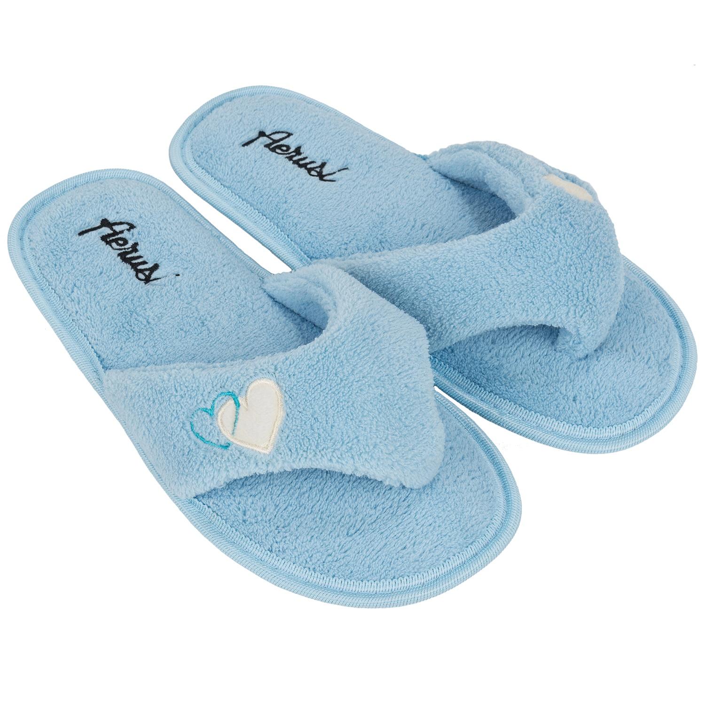 Women Fleece Spa Thong Flip Flops Slippers Bedroom Indoor House ...